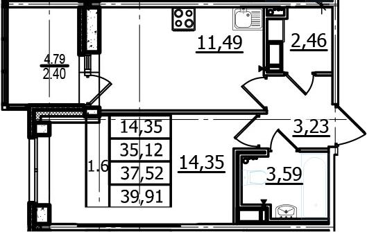 1-к.кв, 35.12 м²