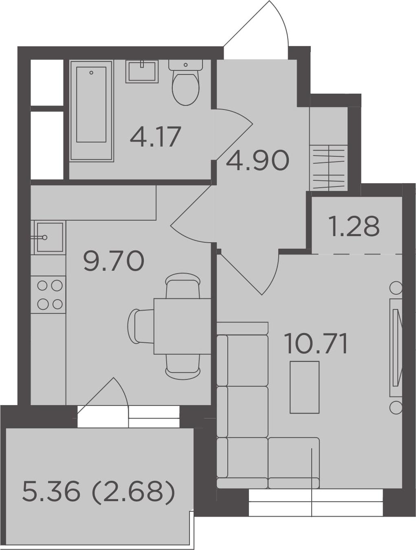 1-к.кв, 33.44 м², 23 этаж