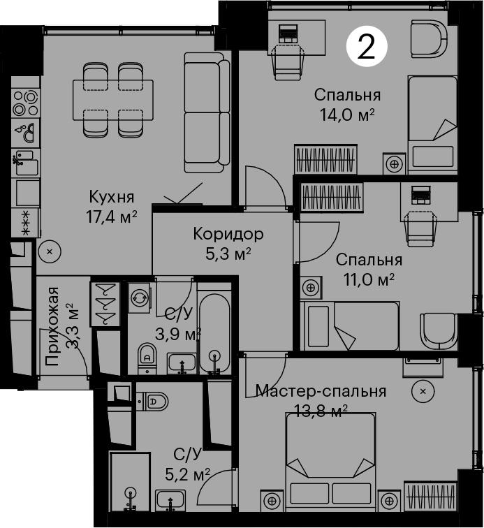 4Е-комнатная, 73.9 м²– 2