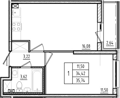 2Е-к.кв, 34.42 м², 2 этаж
