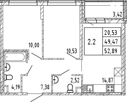 3Е-к.кв, 49.47 м², 2 этаж