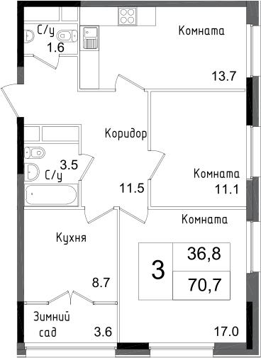 3-к.кв, 70.7 м², от 18 этажа