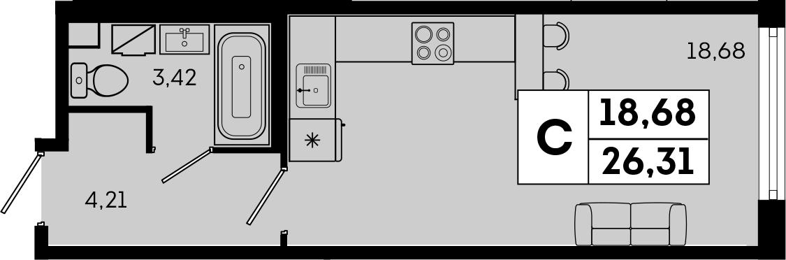 Студия, 26.31 м², 1 этаж