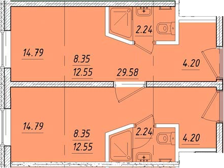 Студия, 29.58 м²