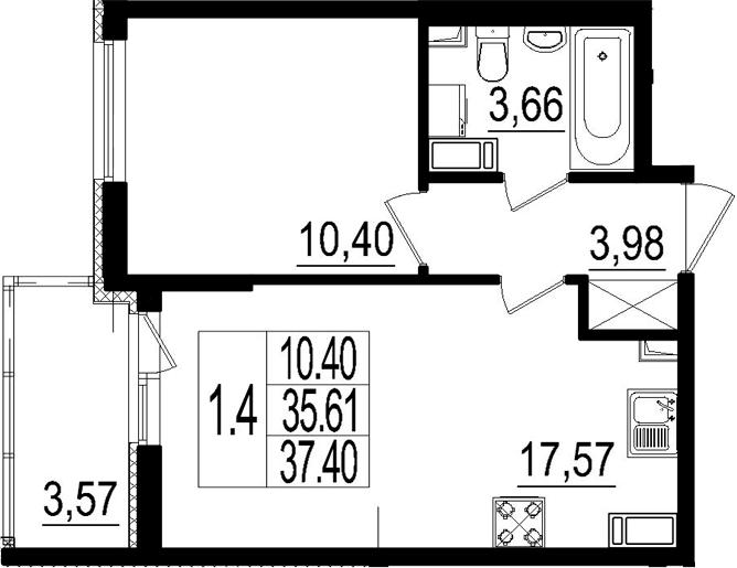 2Е-комнатная, 35.61 м²– 2