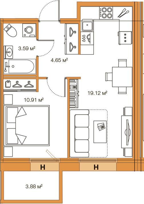 2Е-комнатная, 38.27 м²– 2