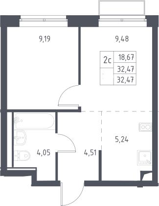 2Е-к.кв, 32.47 м², 2 этаж