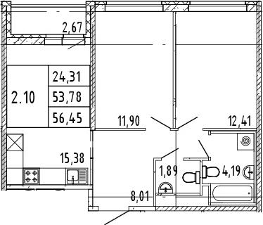3Е-комнатная квартира, 55.12 м², 15 этаж – Планировка