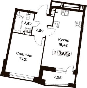 1-комнатная, 39.52 м²– 2
