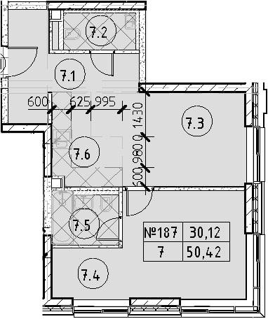2Е-комнатная, 50.42 м²– 2