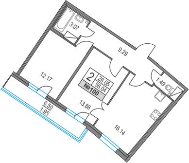 3-к.кв (евро), 62.54 м²