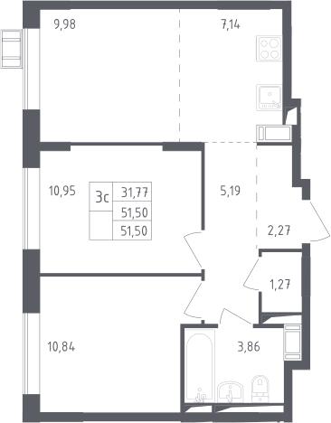 3Е-к.кв, 51.5 м²