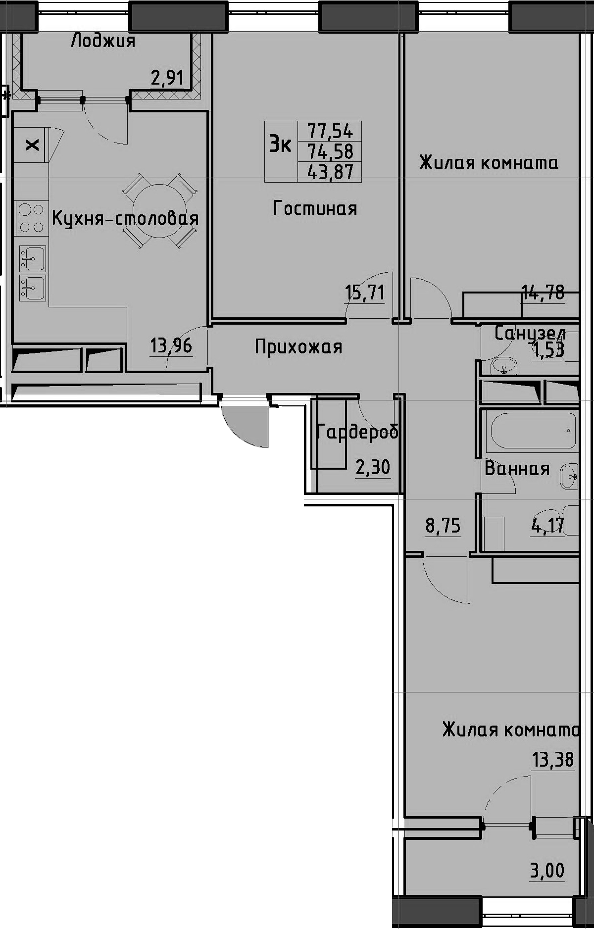 3-комнатная квартира, 77.54 м², 1 этаж – Планировка