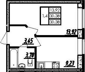 1-к.кв, 30.38 м²