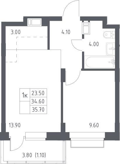 2Е-к.кв, 35.7 м², 11 этаж
