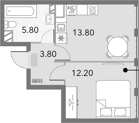 1-к.кв, 35.6 м²