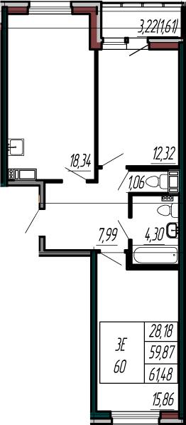 3-к.кв (евро), 63.09 м²