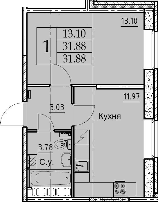 1-комнатная, 31.88 м²– 2