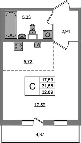 Студия, 35.95 м²