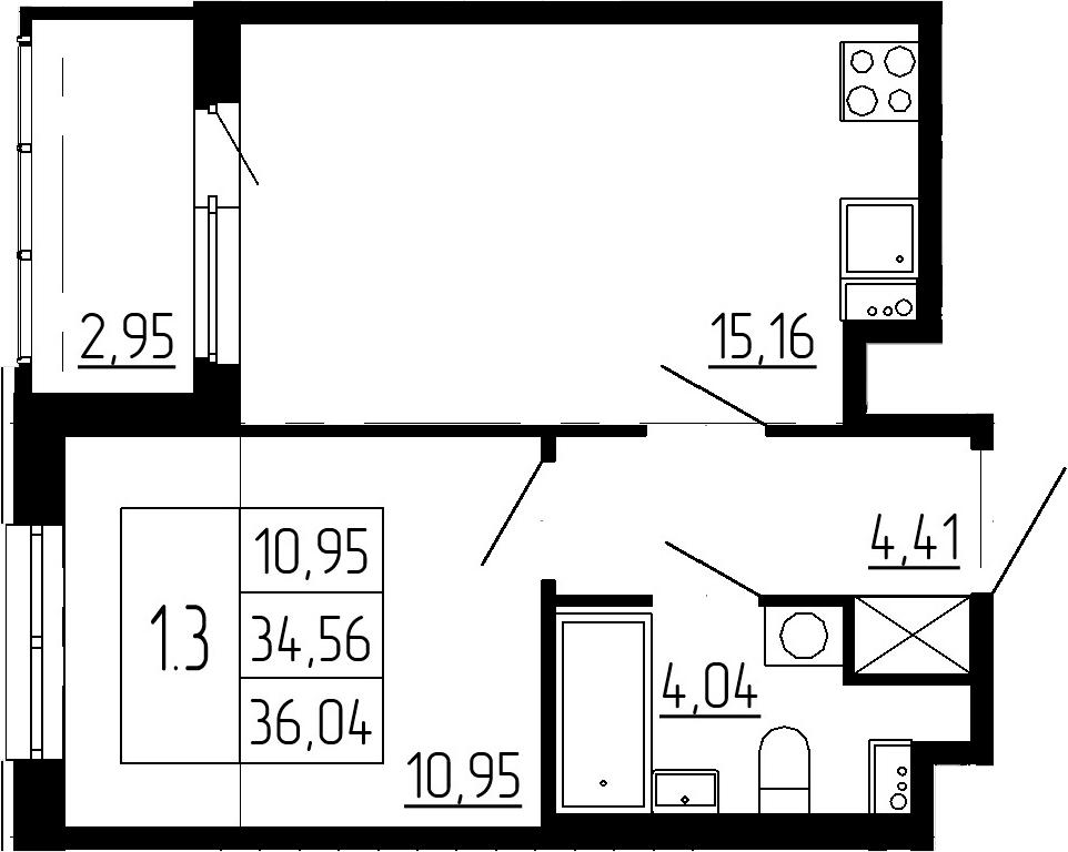 2-к.кв (евро), 37.51 м²