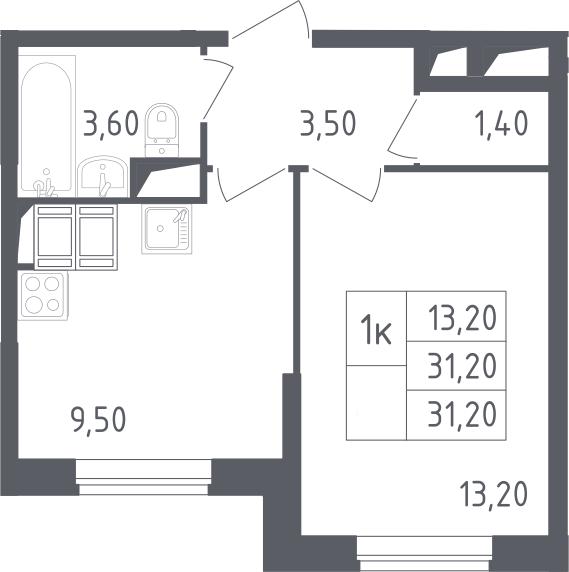 1-к.кв, 31.2 м²