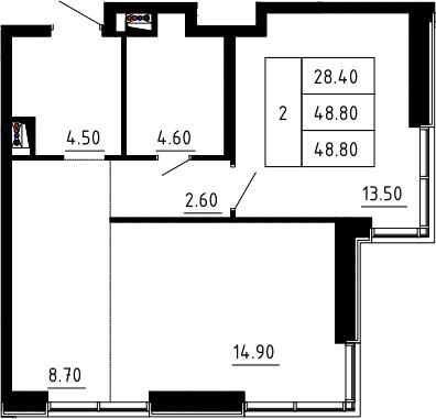 2Е-к.кв, 48.8 м², 2 этаж