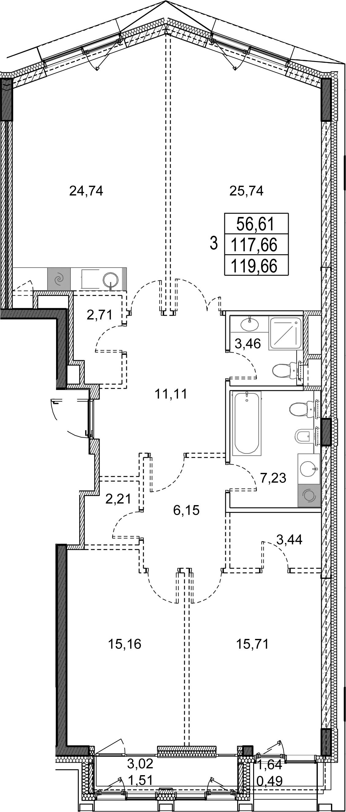 3-к.кв, 119.66 м²