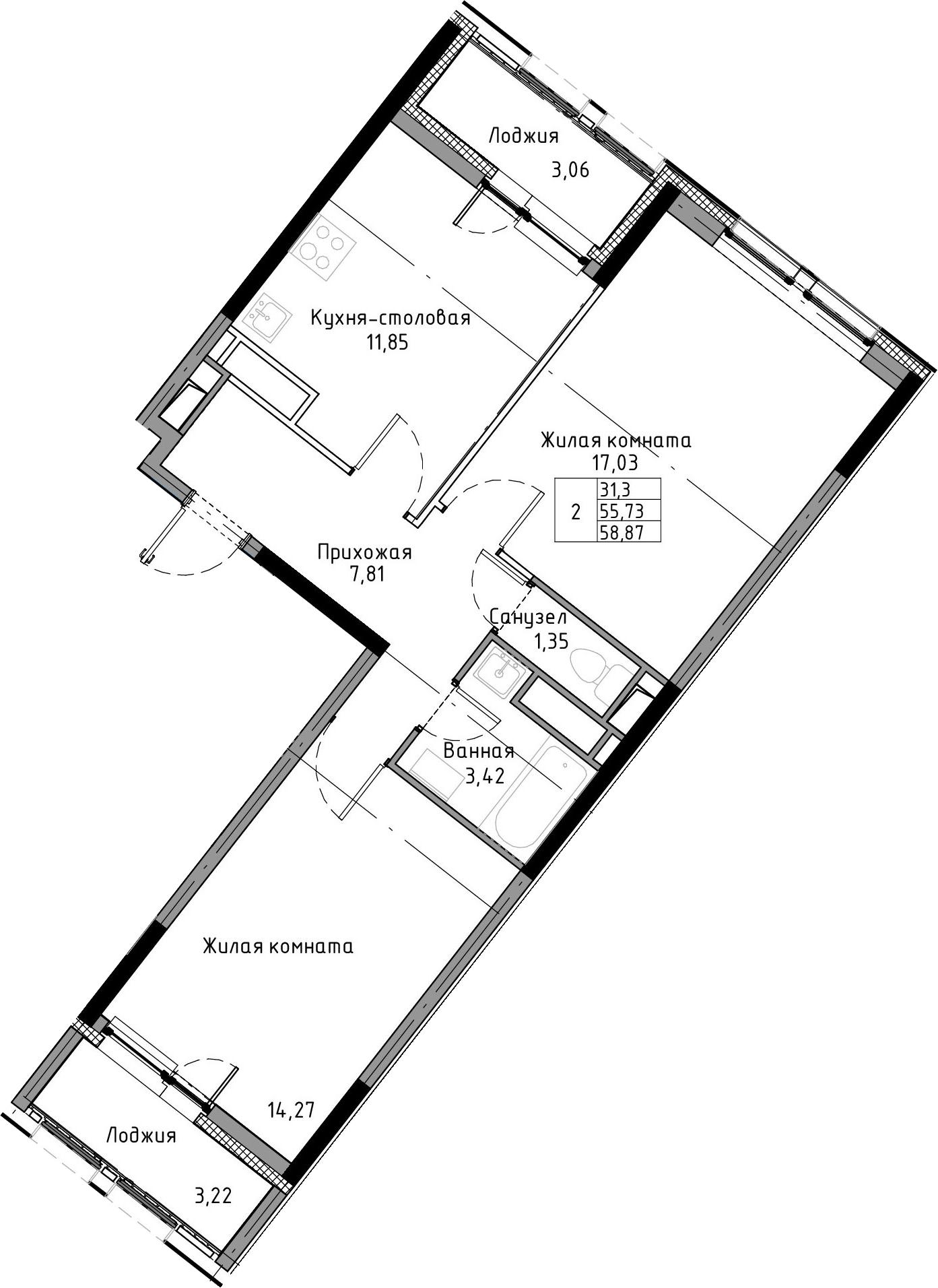 2-к.кв, 58.87 м², от 5 этажа