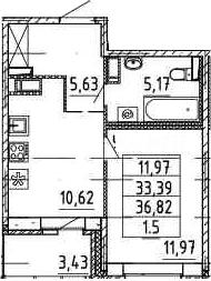 1-комнатная, 33.39 м²– 2