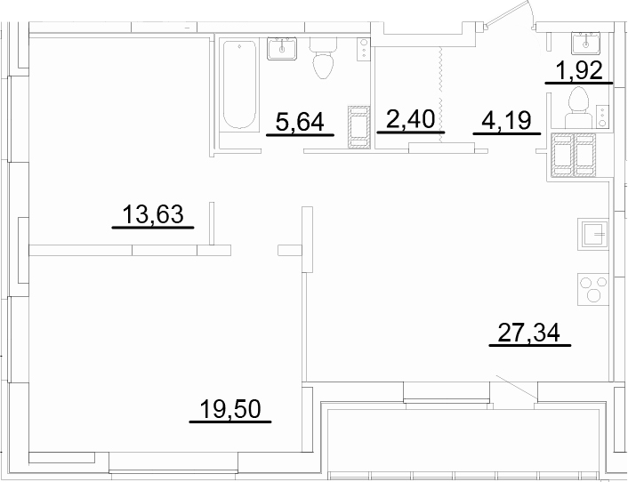 3Е-к.кв, 77.7 м², от 3 этажа