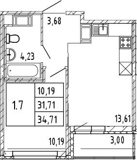 2Е-к.кв, 31.71 м², от 9 этажа