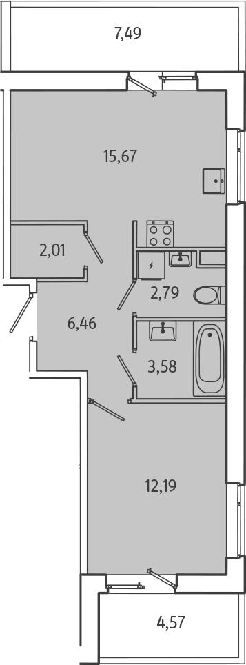 2Е-комнатная, 46.32 м²– 2