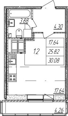 Студия, 25.82 м²