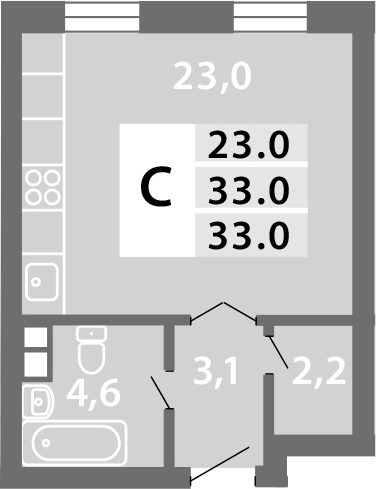Студия, 32.95 м²