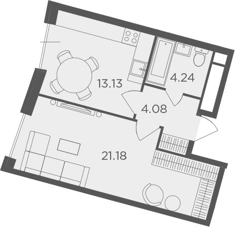 1-комнатная, 42.63 м²– 2