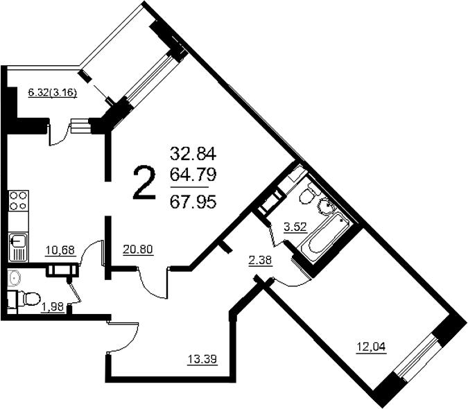 2-к.кв, 71.11 м²