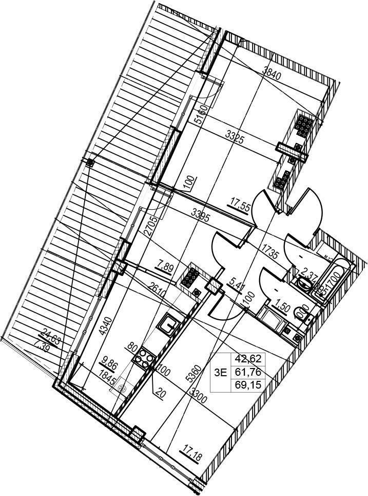 3Е-комнатная, 69.15 м²– 2