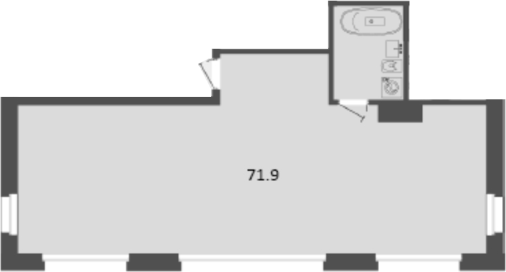 Своб. план., 71.9 м², 2 этаж
