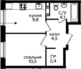 1-комнатная, 31.3 м²– 2