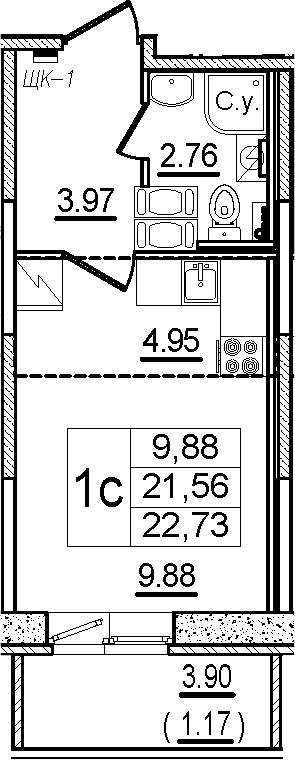 Студия, 22.73 м²– 2