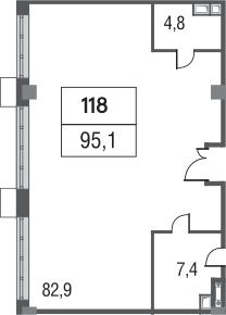 Свободная планировка, 95.1 м²– 2