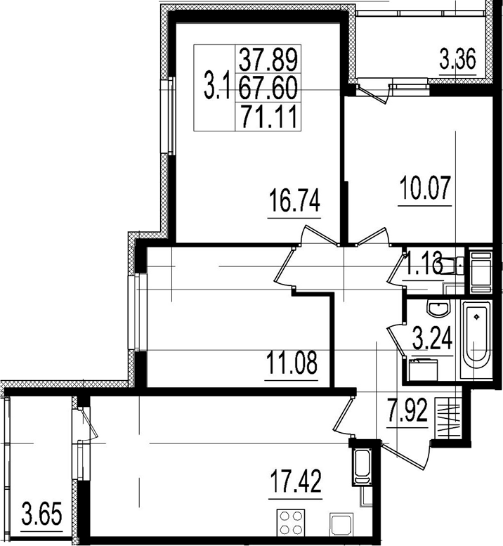 4Е-к.кв, 67.6 м²