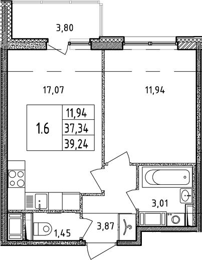 2Е-к.кв, 37.34 м², 17 этаж