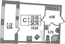 Студия, 23.22 м², от 4 этажа