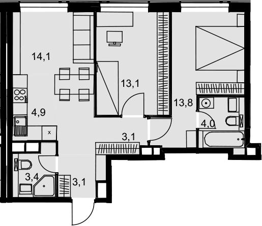 3Е-к.кв, 59.5 м², от 23 этажа
