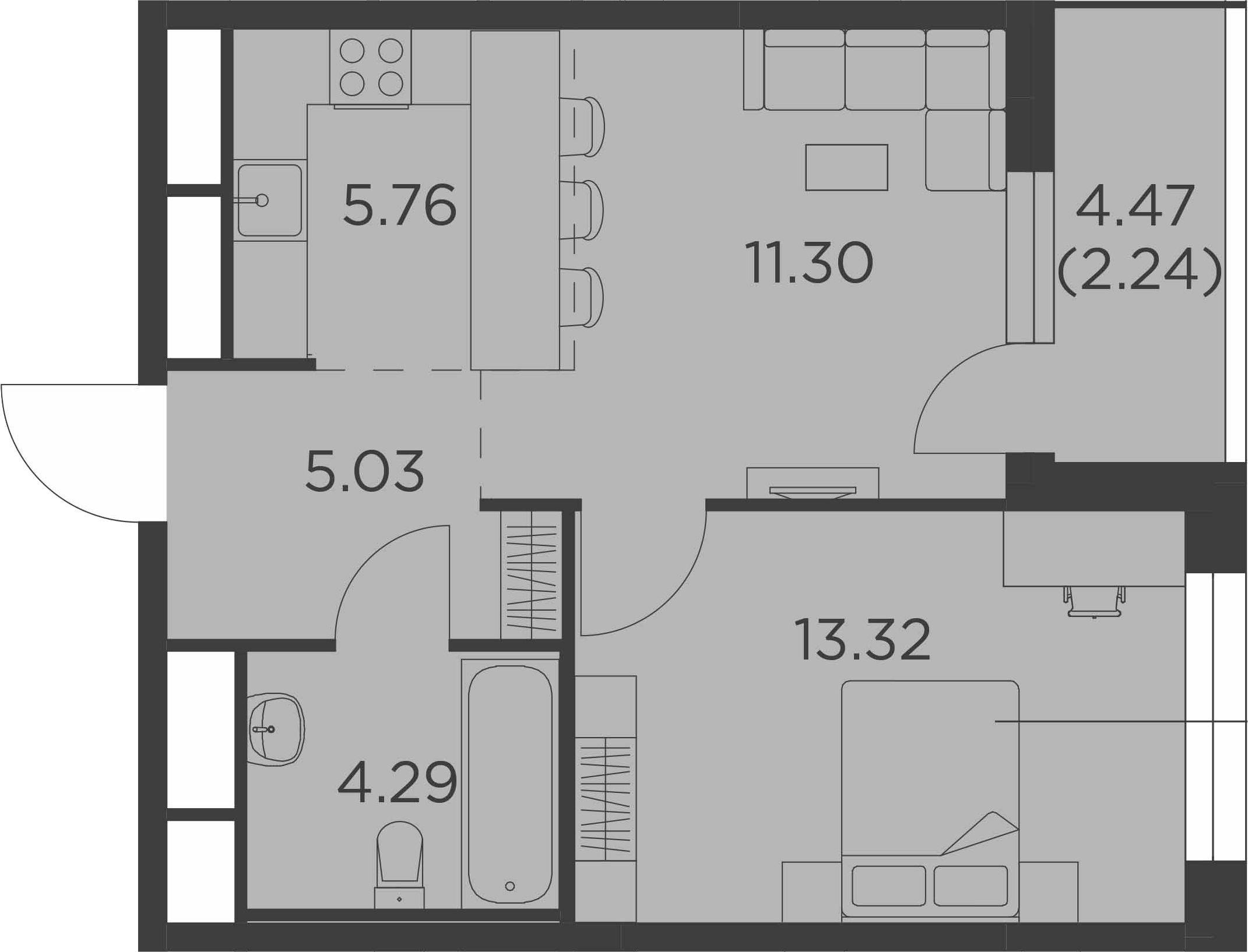 2-к.кв (евро), 44.18 м²