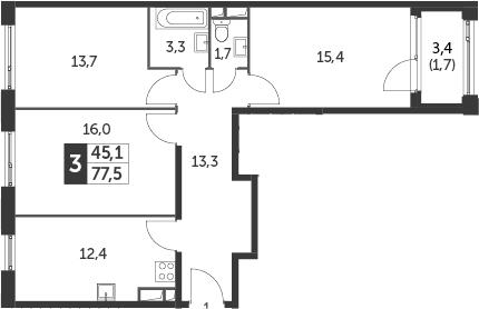 3-к.кв, 79.2 м²
