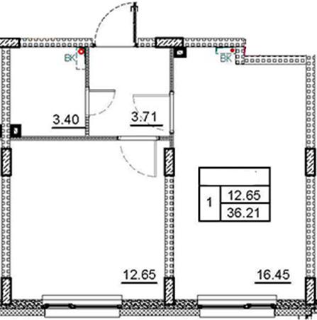 2Е-комнатная квартира, 36.21 м², 2 этаж – Планировка