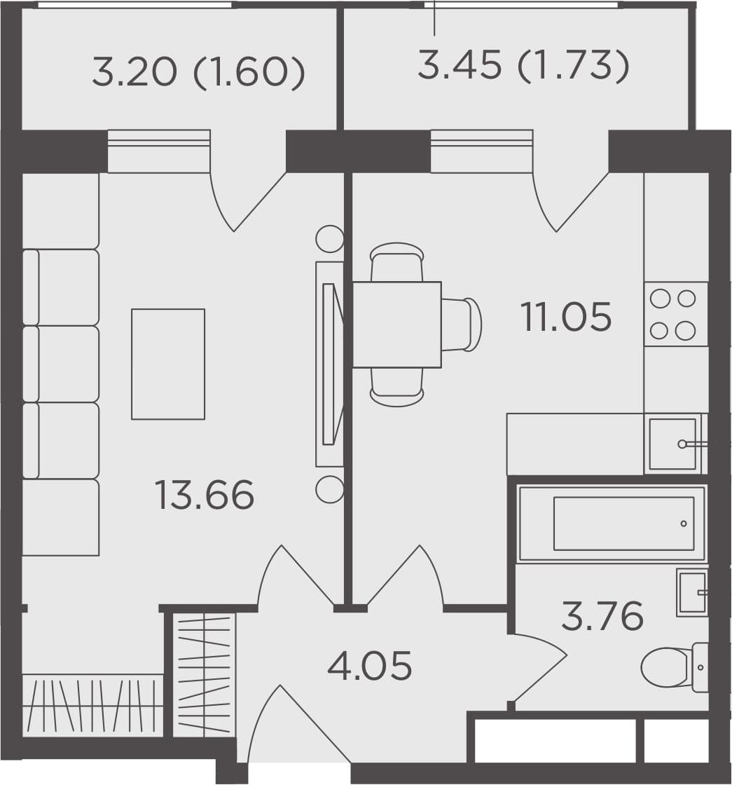 1-комнатная, 35.85 м²– 2