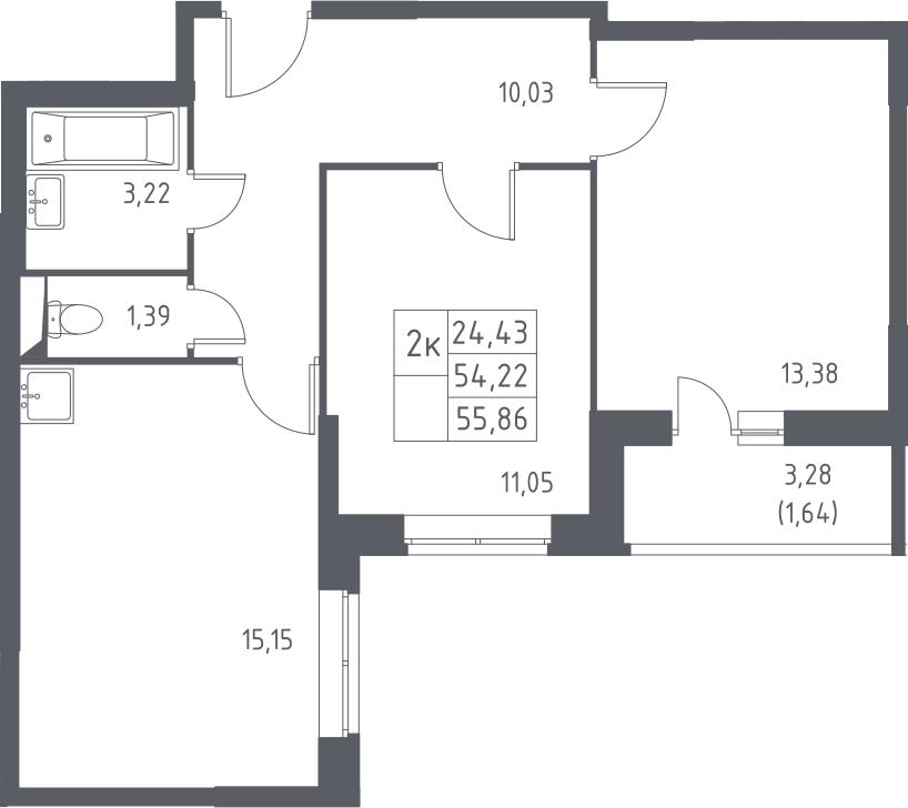 3-к.кв (евро), 57.5 м²